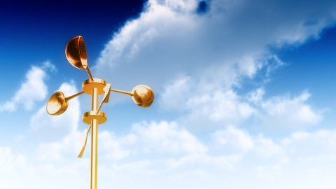 Anemometer Gold with Sky (Loop) - stock footage