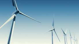 Wind Turbines on Blue (Loop with Matte) - motion graphic