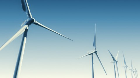 Wind Turbines on Blue (Loop with Matte) - stock footage