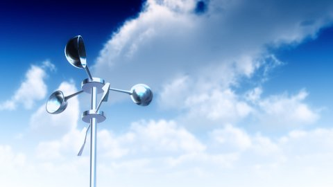 Anemometer with Sky (Loop) - stock footage