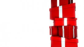 Pile of Gifts Red on White (Loop)