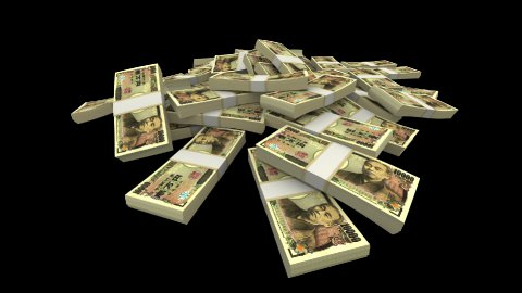 Falling 10000 Japanese Yen (JPY) Packs (with Matte) - stock footage