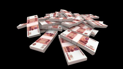 Falling Rubles Packs (with Matte) - stock footage