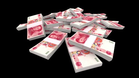 Falling 100 Chinese Yuan (CNY) Packs (with Matte) - stock footage