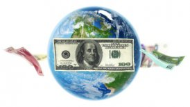 Banknotes Around Earth on White (Loop) - motion graphic