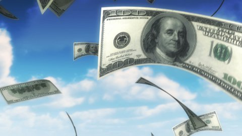 Money from Heaven - USD (Loop) - stock footage