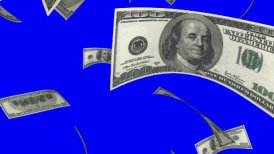 Falling Dollars (Loop on Blue Screen) - motion graphic