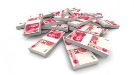 Falling 100 Chinese Yuan (CNY) Packs - Realistic - motion graphic