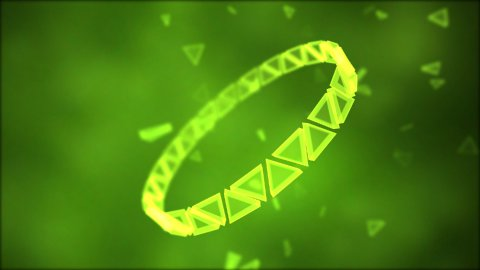 Rotating Ring of Triangles Animation - Loop Green - stock footage