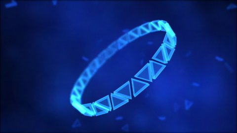 Rotating Ring of Triangles Animation - Loop Blue - stock footage
