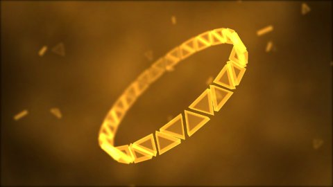Rotating Ring of Triangles Animation - Loop Golden - stock footage