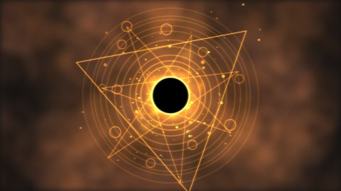 Magic circle, Geometric Background Animation - Loop Golden - stock footage