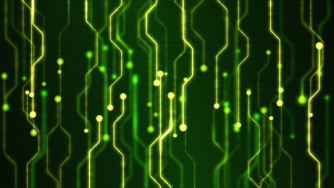 Abstract Technology Circuit Background Animation - Loop Green - stock footage