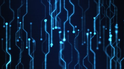 Abstract Technology Circuit Background Animation - Loop Blue - stock footage