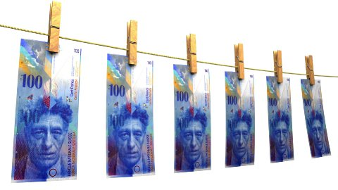 Drying Swiss Francs (Loop + Matte) - stock footage