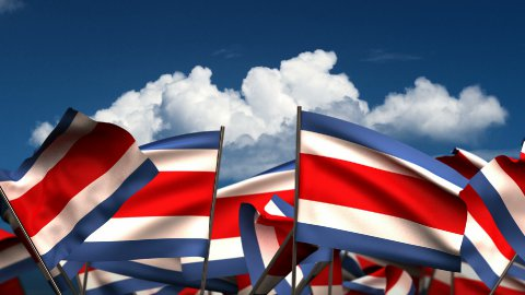 Waving Costa Rican Flags - stock footage