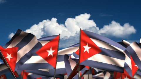 Waving Cuban Flags - stock footage