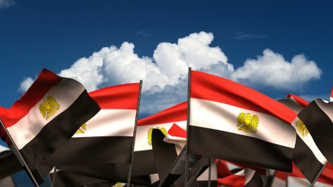 Waving Egyptian Flags - stock footage