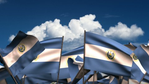 Waving El Salvadorian Flags - stock footage