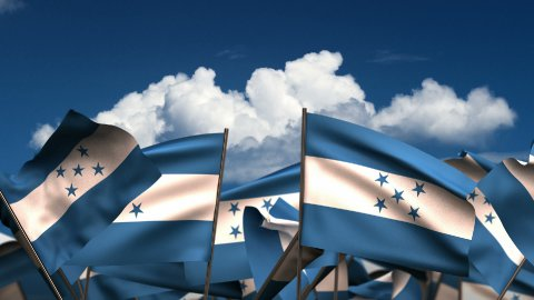 Waving El Honduran Flags - stock footage
