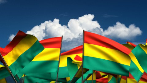 Waving Bolivian Flags - stock footage