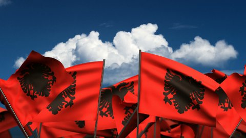 Waving Albanian Flags - stock footage