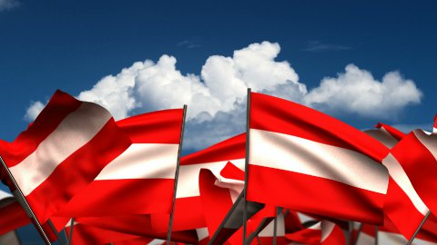 Waving Austrian Flags - stock footage