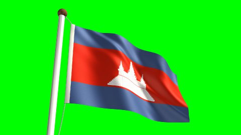 Cambodian flag - stock footage