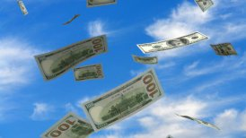Falling American Dollar - editable clip, motion graphic, stock footage