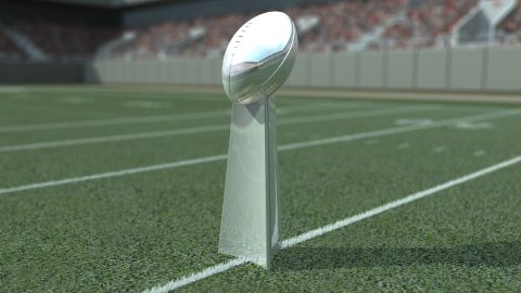 Football Trophy in Stadium - stock footage
