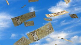 Falling Canadian Dollar - editable clip, motion graphic, stock footage