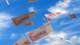 Falling Chinese Yuan - editable clip, motion graphic, stock footage