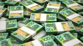 Stack of Australian Dollar - editable clip, motion graphic, stock footage