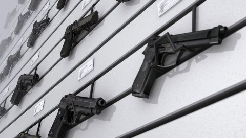 Wall of Guns - stock footage