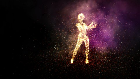 Dancing with fire and sparks. LOOP. - stock footage