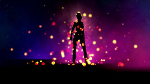 Silhouette sexy girl dancing with colorful bubbles. Camera rotation. Easy to loop. - stock footage