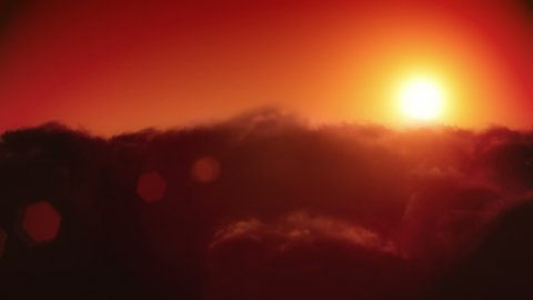 Sunset above the clouds. Camera flight through the clouds. Easy to loop, 4k. - stock footage