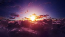 Flight through the sunset clouds. Easy to loop. 4k - Ultra HD. - motion graphic