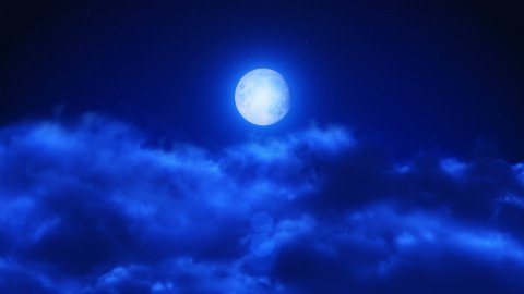 Flight through clouds at starry night. Big moon. Easy to loop. 4k - Ultra HD. - stock footage
