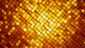 Gold square blocks background animation throwing glares. Seamless loop. 4k - Ultra HD.