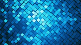 Blue metallic square blocks background animation throwing glares. Seamless loop. 4k - Ultra HD.