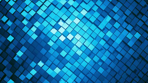 Blue metallic square blocks background animation throwing glares. Seamless loop. 4k - Ultra HD. - stock footage