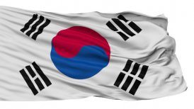 Isolated Waving National Flag of South Korea