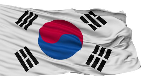 Isolated Waving National Flag of South Korea - stock footage