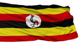 Isolated Waving National Flag of Uganda