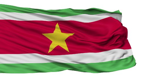 Isolated Waving National Flag of Suriname - stock footage