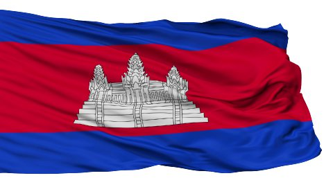 Isolated Waving National Flag of Cambodia - stock footage