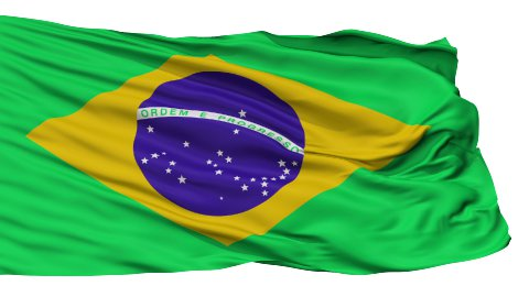 Isolated Waving National Flag of Brazil - stock footage