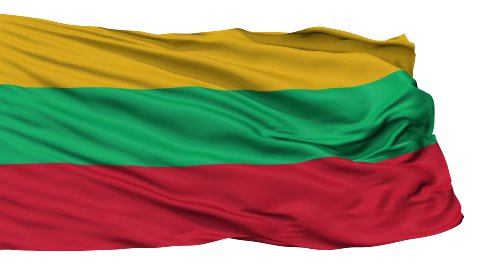 Isolated Waving National Flag of Lithuania - stock footage