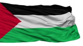 Isolated Waving National Flag of Palestine